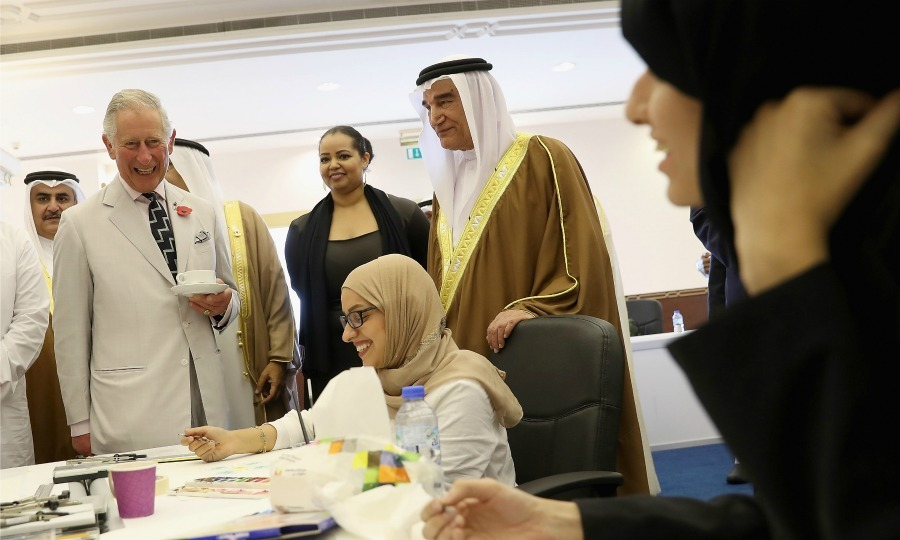 Charles chatted with students and looked at their work during his visit to the Bahrain Cultural Centre in Manama. While visiting the center, the royal took in a geometric art workshop with students from the University of Bahrain. 