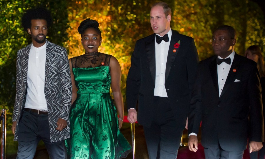 Prince William made his grand entrance to the Centrepoint fundraising event and awards evening, on the grounds of Kensington Palace, with the organization's cheif executive, Seyi Obaki. The busy Prince wore a poppy on his lapel in honor of Remembrance Day.