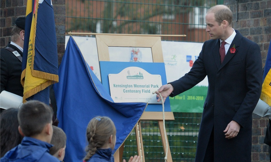 William unveiled a plaque officially dedicating Kensington Memorial Park in London to the Centenary Fields program. 