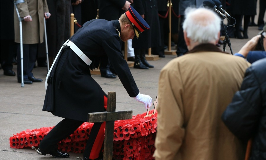 Harry laid a wooden cross at the Field of Remembrance at London's Westminster Abbey. The Prince and the Duke of Edinburgh met with veterans from past and present conflicts and paid their respects ahead of Remembrance Day. 