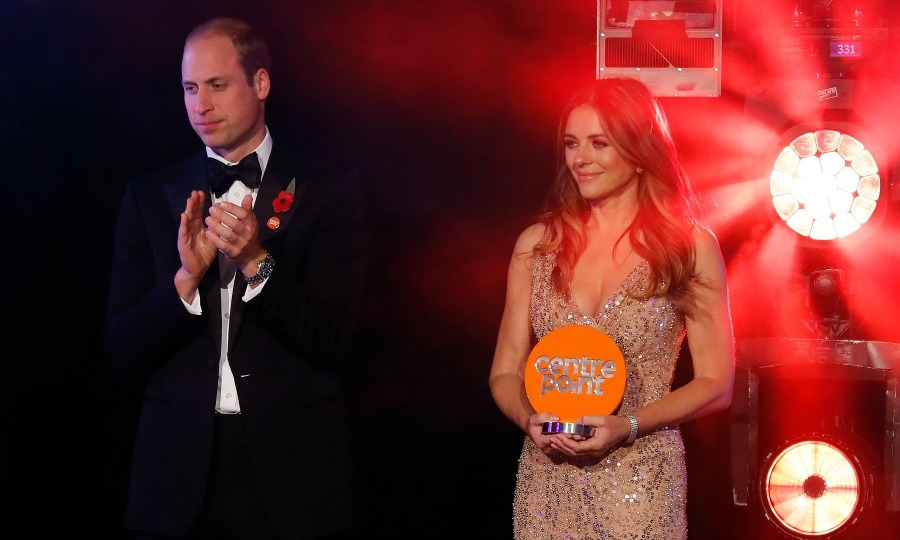 William and <i>The Royals</i> star Elizabeth Hurley applauded as some of the night's award recipients took the stage. 