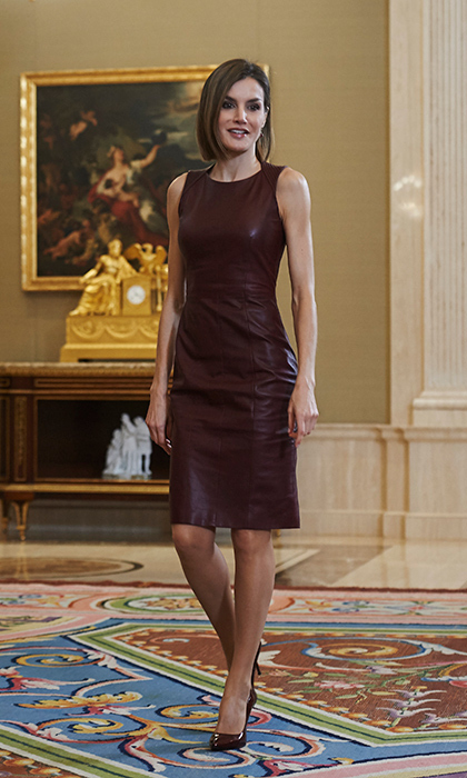 For an event at Madrid's La Zarzuela Palace, Queen Letizia wore a burgundy lambskin leather dress by her go-to designer BOSS.