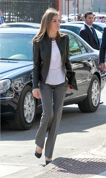 Queen Letizia looked chic in a boxy BOSS leather jacket for a visit to the village of Teverga.