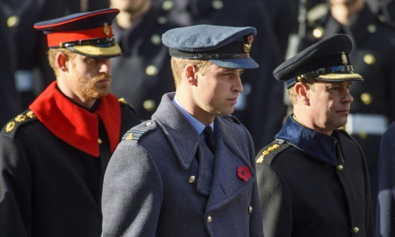 Prince Harry, Prince William and their uncle Prince Edward all stepped out on November 13 for the annual Remembrance Sunday Service at the Cenotaph memorial in Whitehall. 
