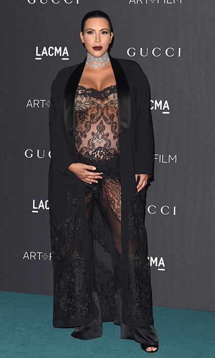 "Sheer perfection! <a href=""https://us.hellomagazine.com/tags/1/kim-kardashian-west/""><strong>Kim Kardashian West</strong></a> fully embraced her famed sex appeal in this black lacy lingerie-inspired look while pregnant with son Saint in 2015. 