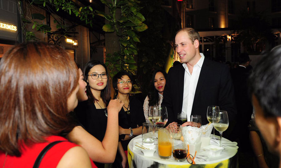 The Duke of Cambridge attended a British Embassy reception in the evening, where he met with Vietnam's young arts, civil society and business leaders. 