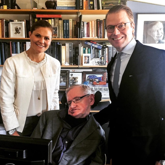 Crown Princess Victoria and Prince Daniel of Sweden met with legendary scientist Stephen Hawking in Cambridge. The Prince and Mr. Hawking have been collaborating on a project which helps encourage people to do more physical activity to help prevent diseases related to sedentary lifestyles. 
