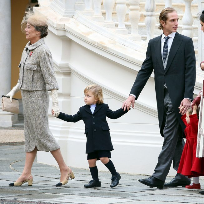 Little Sacha Casiraghi held hands with grandmother Princess Caroline and dad Andrea Casiraghi. 