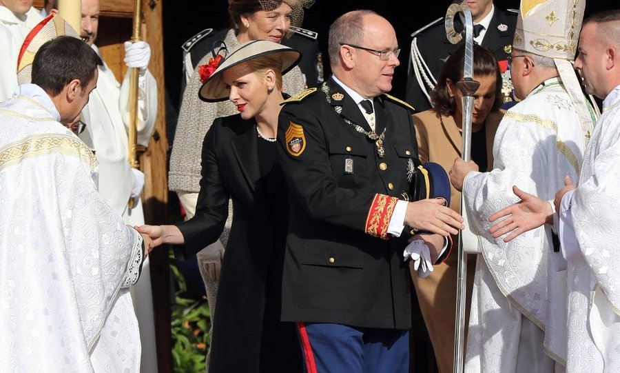 Prince Albert and Princess Charlene thanked church officials outside the cathedral.