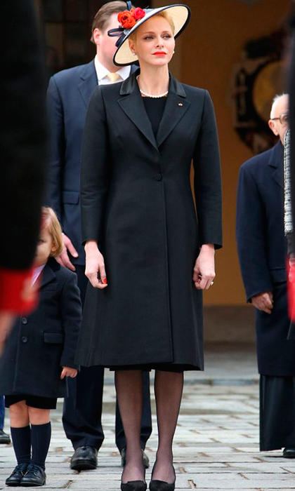 Mom-of-two Princess Charlene kept her outfit simple, in classic black for Monaco's National Day. 