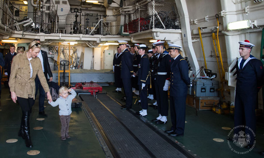 The little Prince gave a royal salute to naval men and women during his visit to the French frigate Guépratte.