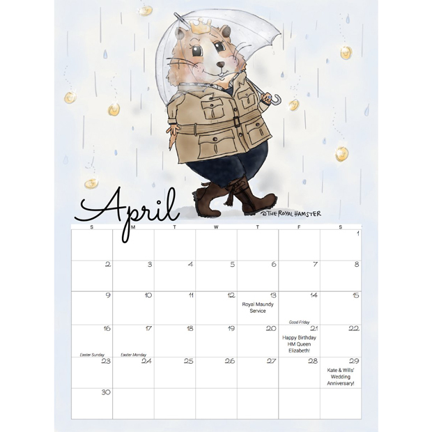 "Add a dose of royalty to every day of the year with this calendar from Christine Frazier. The creator of The Royal Hamster cartoon, who issues regular installments on Twitter, was inspired to put her artistic talents to work when Kate revealed that George and Charlotte have a pet hamster named Marvin. ""[Princess] Charlotte really likes the hamster because the whiskers always tickle her face,"" Kate said. The illustrated version typically dons outfits worn by the Duchess.