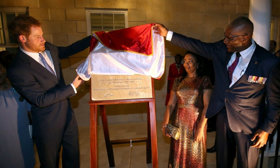 Prince Harry attended a welcome reception at the newly renovated Clarence House, hosted  by Governor General Sir Rodney Williams, where he unveiled a plaque celebrating the occasion. 