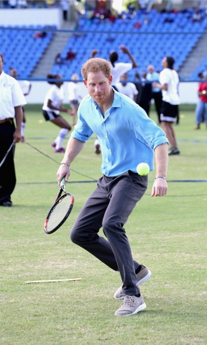 Never one to pass up a challenge, Harry played a round of tennis. 