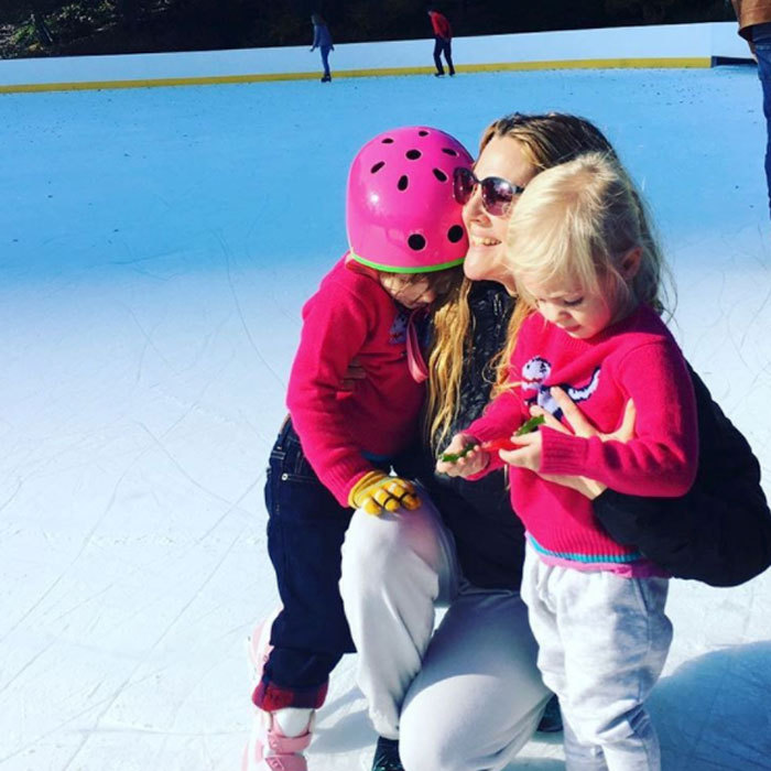 "Drew Barrymore enjoyed a winter outing with her daughters Frankie and Olive. Attached to the ice skating photo, she wrote, ""#people I love these are the loves of my life. #myolive #myfrankie all I wanted to do this week was reflect. Think about people and moments that make life make sense to me. That make life amazing. That motivate me to be my best self. I feel so lucky. And after just living the last few days in all things positive, it was good for me to reflect on things that truly make me happy.""