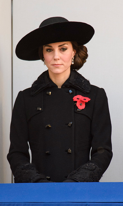 Kate Middleton wore a Diane von Furstenberg coat for the morning's Remembrance Sunday service in Whitehall, London.