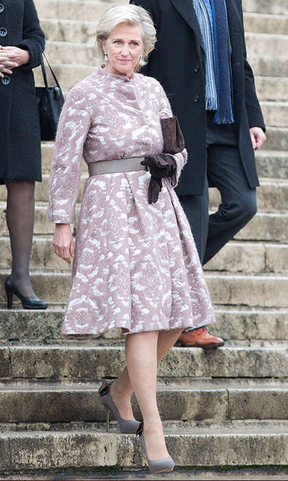 Princess Astrid opted for a patterned frock for her visit to the Te Deum.