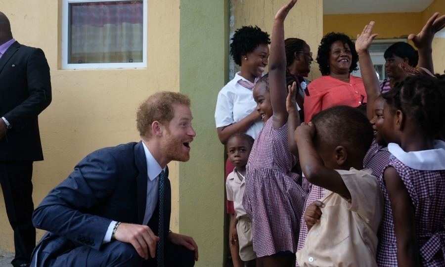 Harry was equally excited to meet the children when he made a quick stop at the Half Way Tree Primary School in St Kitts.