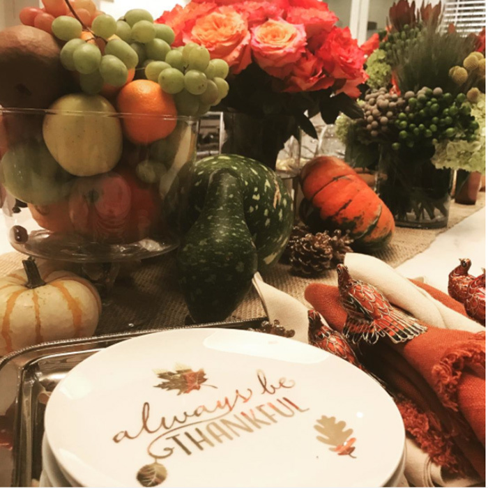 "Jennifer Lopez showed the bounty in a pre-dinner pic: ""Getting things ready for #Thanksgiving... So much to be grateful for!!! #alwaysbethankful""