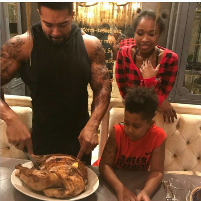 "Jennifer Hudson's husband David Otunga had the honor of carving: ""Watching dada cut the thanksgiving turkey!""