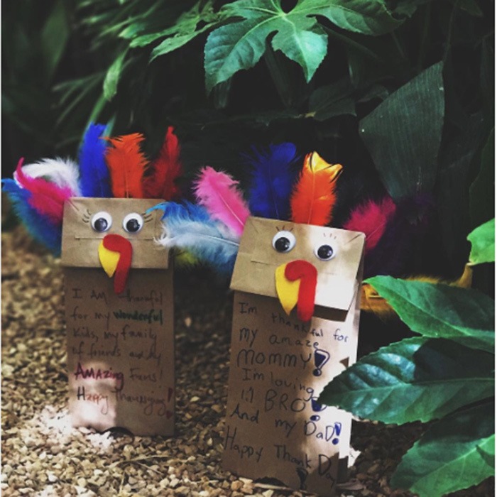 "Halle Berry and daughter Nahla made these adorable turkeys. ""Happy Thanksgiving from my family to yours!,"" the actress wrote.