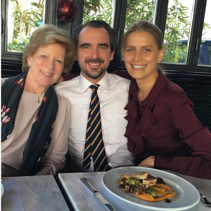 "With her husband Prince Nikolaos and mother-in-law Queen Anne-Marie, Princess Tatiana of Greece said she was ""Reflecting on gratitude on Thanksgiving day and everyday... Thank you @decounti for delicious turkey lunch shared with loved ones @skylightchaser @vassilis.kefaloyannis @irenepsyrra #gratitude #Thanksgiving #loveonlygrowsbysharing #blessings #friends #family #food #life"".