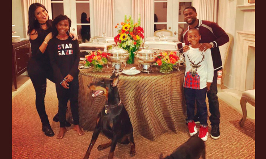 "Kevin Hart sent a message to fans: ""Happy Turkey day from the Harts!!!! #LiveLoveLaugh"".