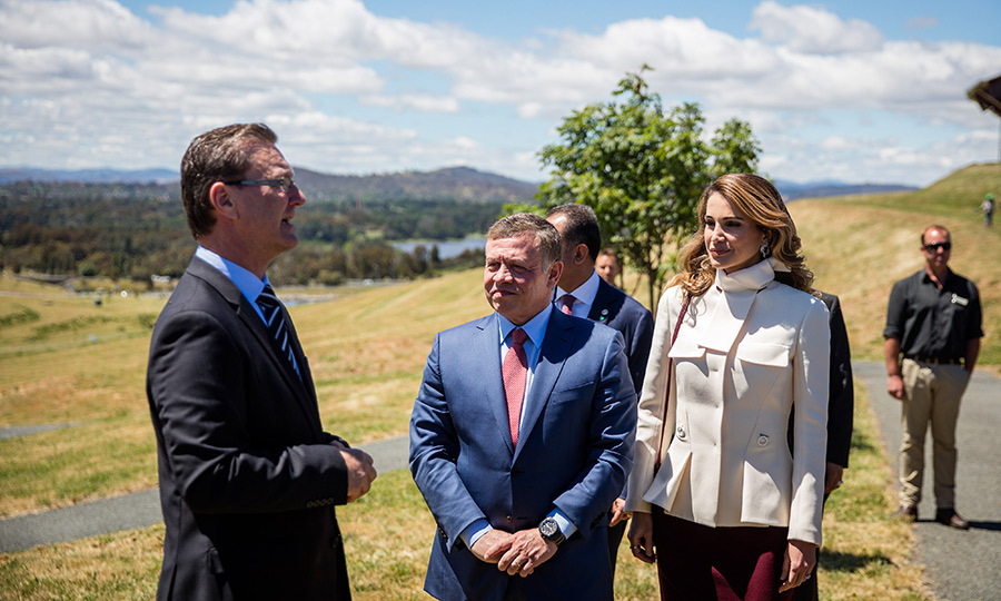 There was plenty of sunshine as the King and Queen took in the sweeping landscape at the National Arboretum in Canberra November 24.