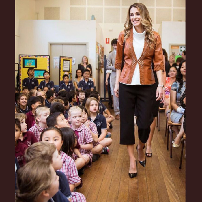 The Queen of Jordan rocked culottes for her visit to the Fort Street School in Sydney to learn more about the Kidpreneur program.