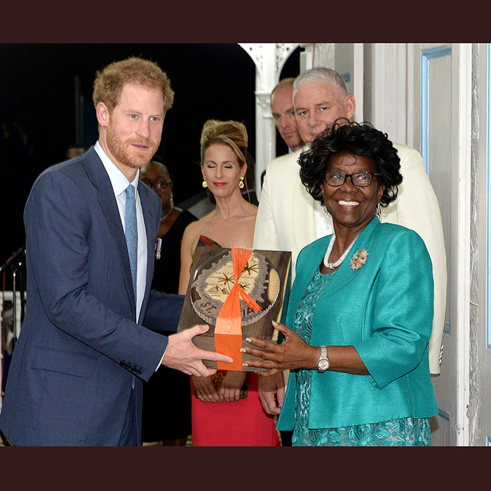 Prince Harry attended a reception hosted by the Governor General, Her Excellency Dame Pearlette Louisy, in the gardens of Government House on the island of St Lucia.