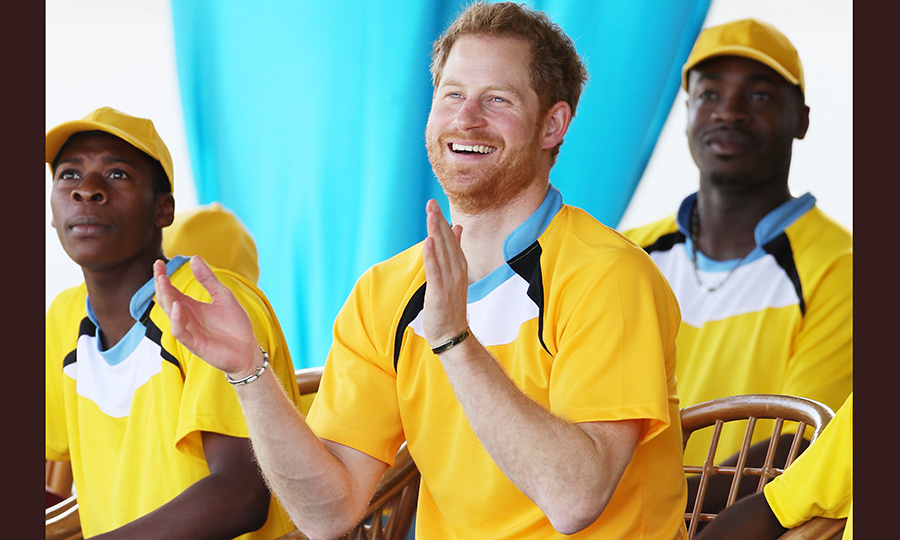 Prince Harry cheered on his teammates from the sidelines.