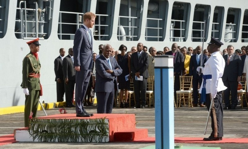 A royal welcome for Prince Harry as he arrived at the Kingstown Cruise Terminal Pier on the island of Saint Vincent and the Grenadines.