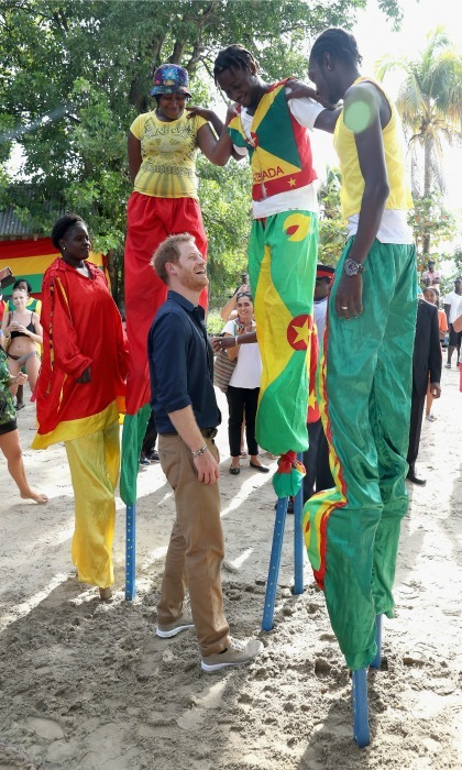 Friends in high places!  Harry met the stilt walkers during his visit to Grand Anse Beach. The Prince paid a visit to the mangrove restoration projects. 