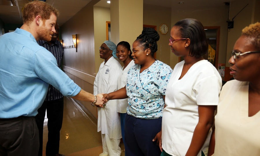 The work doesn't stop! Harry met with staff at the Queen Elizabeth hospital and thanked them for their willingness to work on Independence Day. 