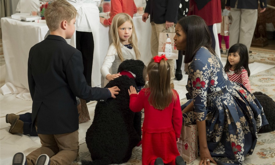"Michelle invited military families to the White House, where she presented to them and their children the finished product. The first lady told the crowd,  ""We're going to be celebrating our country's greatest gifts, with special decorations celebrating our military families."" 