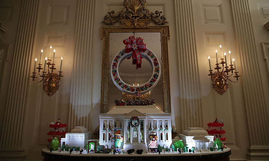 A gingerbread replica of the White House is displayed in the State Room of the presidential residence. According the Washington Post, the delicious decor is made from 150 pounds of gingerbread, 100 pounds of bread dough, 20 pounds of gum paste, 20 pounds of icing and 20 pounds of miniature sugar sculpture pieces.