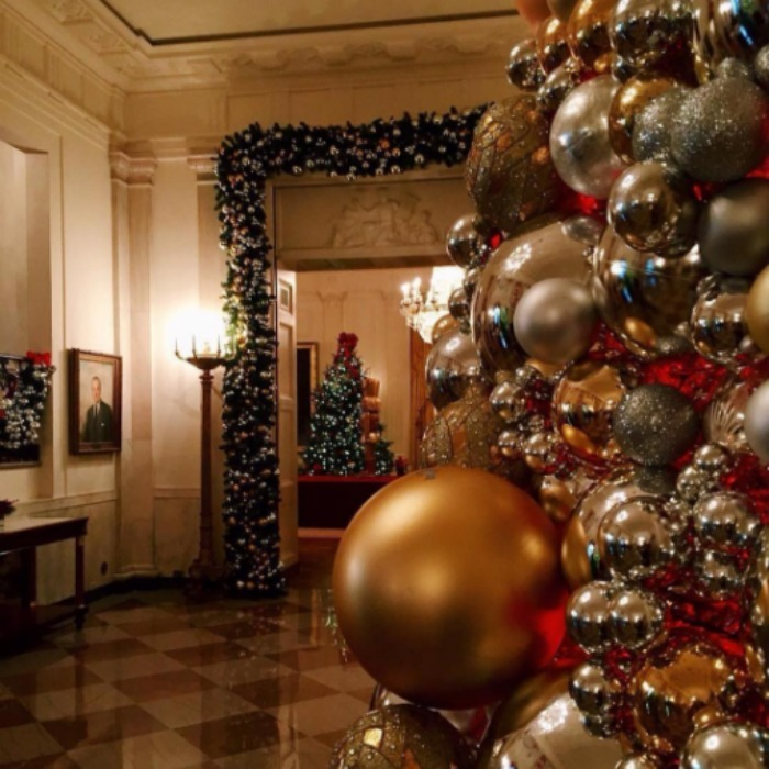 The White House shared an up close and personal view of the holiday decor.