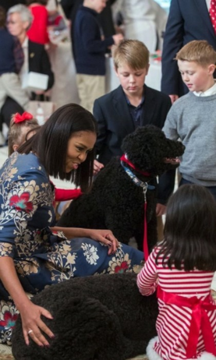 Children of military families made it to the White House to check out the decorations and even pet the first family's pets, Sunny and Bo.
