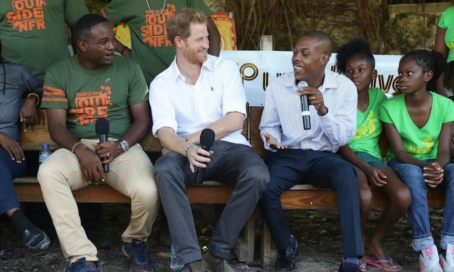 Harry took the stage at the Nature Fun Ranch in Barbados. The ranch helps young people improve personal development and speak freely with each other about various topics.
