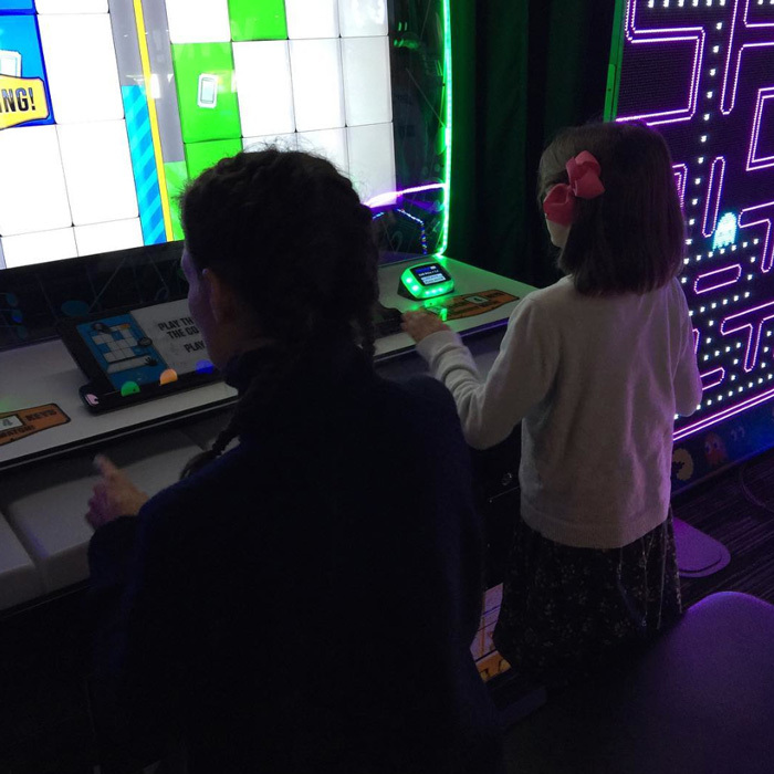 "Katie Holmes and Suri Cruise stepped out for a mother-daughter date night in the Hollywood star's native Ohio. Sharing a photo from the outing, the actress wrote, ""She beat me @daveandbusters #mothersanddaughters #holidays #gratitude #family #toledo #ohio.""