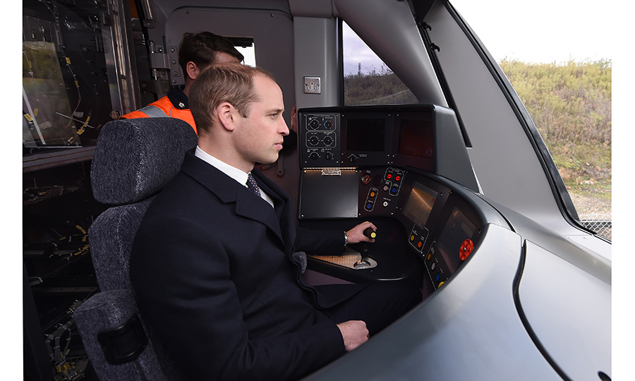 All aboard! Prince William slipped into the driver's seat on a Crossrail train in Derby, England. 