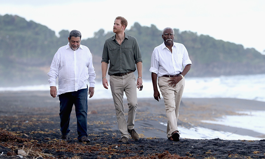 Prince Harry took a beach stroll with Prime Minister Ralph Gonsalves and Sir Frederick Nathaniel Ballantyne, the Governor-General of St. Vincent and the Grenadines, as he visited a turtle conservation project in Colonarie. 
