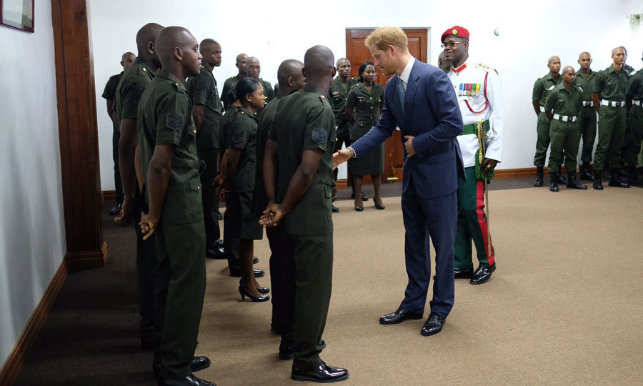 Harry paid a visit to Camp Ayanganna, which is the Headquarters of the Guyana Defense Force.