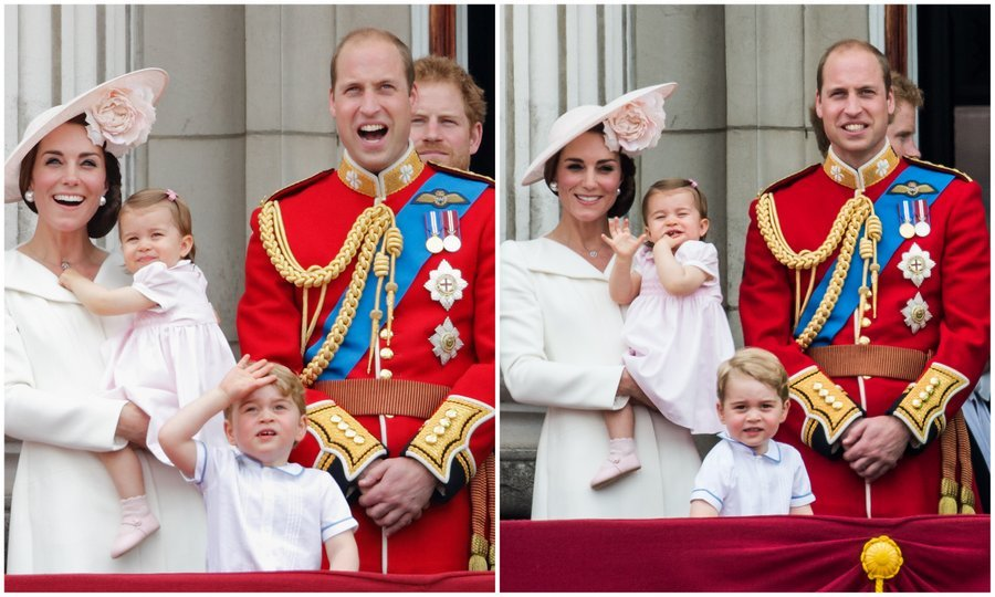 June 2016:  Photographers captured the excitement and awe of Prince George and Princess Charlotte as they joined their parents and the rest of the royal family on the balcony of Buckingham Palace for the flypast during Trooping the Colour.