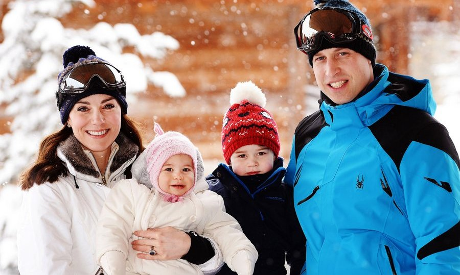 March 2016: Catherine, Duchess of Cambridge and Prince William, Duke of Cambridge, and their children, Princess Charlotte and Prince George looked adorable in their winter hats during a private skiing break in the French Alps.