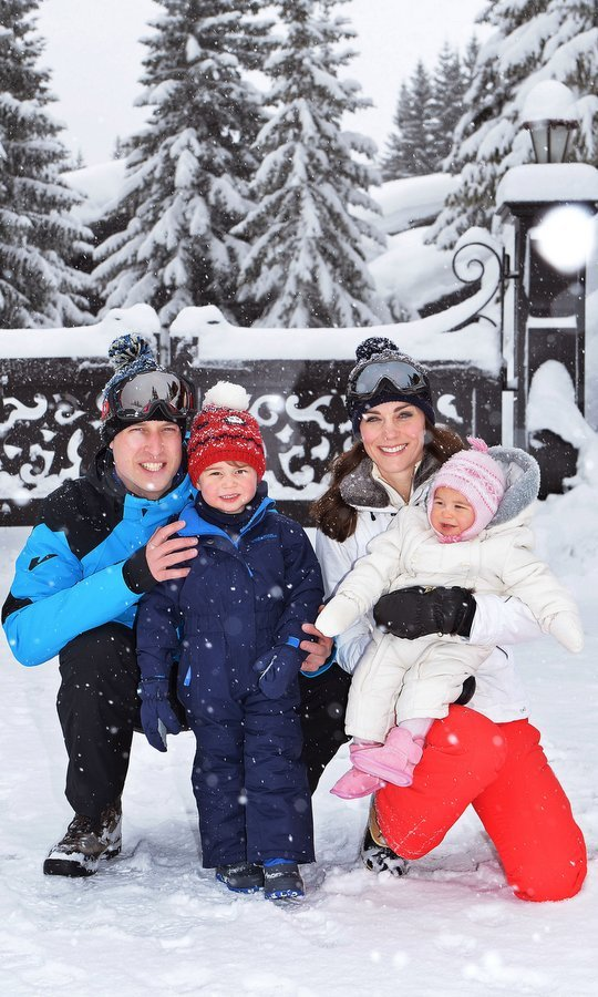 March 2015: Prince William, Kate Middleton, Prince George and Princess Charlotte had some official family fun during their snowy vacation in the French Alps. 
