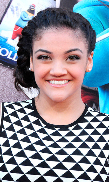 Team USA gymnast Laurie Hernandez looked naturally gorgeous with fresh-faced makeup and a braided 'do at the premiere of 'Sing' at Microsoft Theater in Los Angeles. 