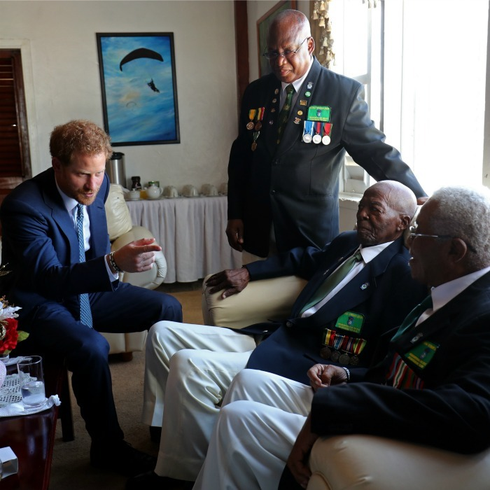 The Prince and military man, met with veterans of the Guyana Defense Force, who made the royal a honorary member during his visit. 