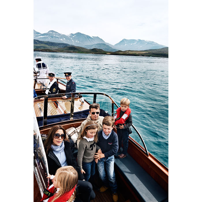 "The twins joined their older siblings and parents for a boat ride on the royal yacht Dannebrog, in a photo that was published in the book ""Kongeskibet Dannebrog.""