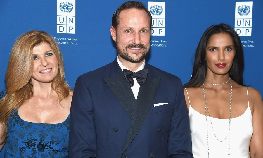 Connie Britton and Padma Lakshmi rubbed elbows with Crown Prince Haakon of Norway during the inaugural United Nations Development Programme Global Goals Gala in NYC. 